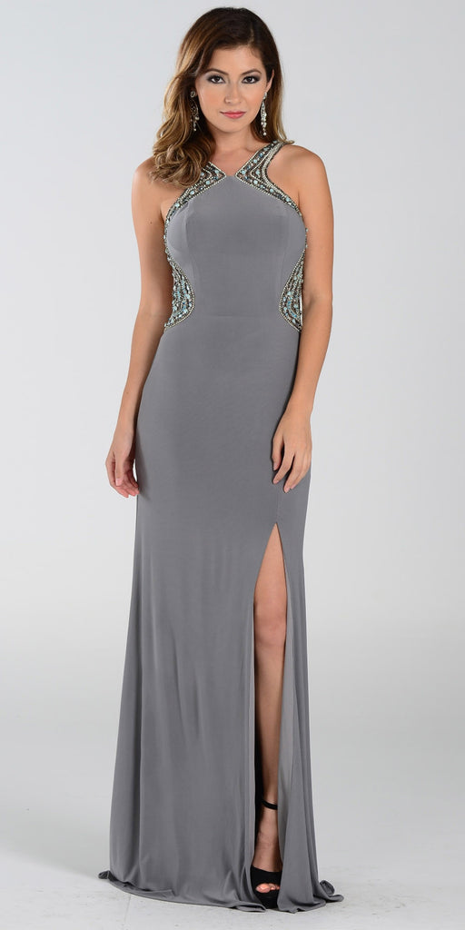 ON SPECIAL LIMITED STOCK - Poly USA 7360 Gray Slit Prom Dress Sexy Long Sheer Back