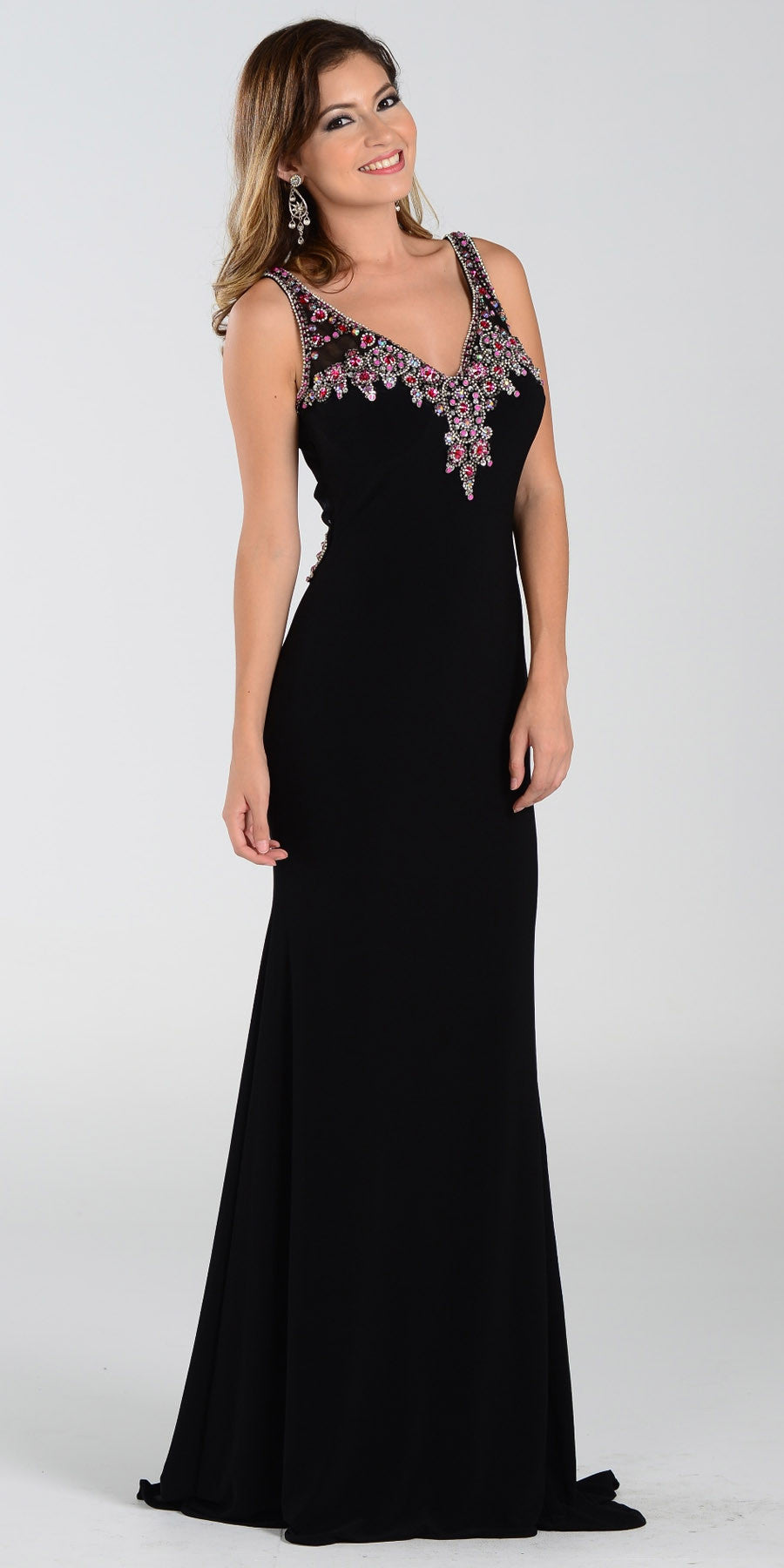ON SPECIAL LIMITED STOCK - Poly USA 7362 Long Sheath Prom Dress Black V Neck