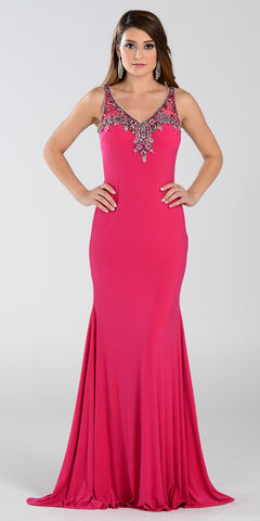 ON SPECIAL LIMITED STOCK - Poly USA 7362 Long Sheath Prom Dress Fuchsia V Neck