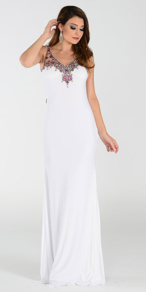 ON SPECIAL LIMITED STOCK - Poly USA 7362 Long Sheath Prom Dress Off White V Neck