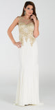 Poly USA 7364 Sheath Column Prom Dress Off White Long Lace Appliques