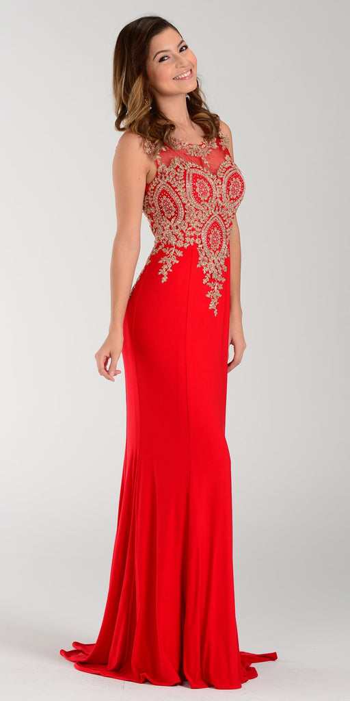 Poly USA 7364 Sheath Column Prom Dress Red Long Lace Appliques