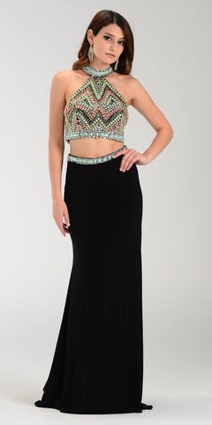 Poly USA 7366 Long 2 Piece Prom Gown Black Choker Neck Strap