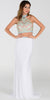 Poly USA 7366 Long 2 Piece Prom Gown Off White Choker Neck Strap