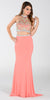 Poly USA 7366 Long 2 Piece Prom Gown Coral Choker Neck Strap