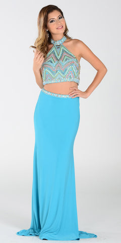 Poly USA 7366 Long 2 Piece Prom Gown Turquoise Choker Neck Strap