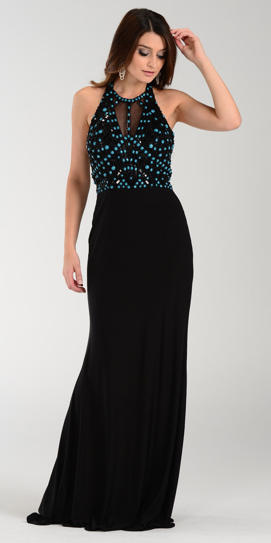 ON SPECIAL LIMITED STOCK - Poly USA 7378 Special Occasion Long Dress Black Halter Strap