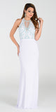 ON SPECIAL LIMITED STOCK - Poly USA 7378 Special Occasion Long Dress White Halter Strap
