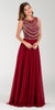 Poly USA 7380 Long Greek Chiffon Dress Burgundy A Line Bateau