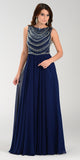 Poly USA 7380 Long Greek Chiffon Dress Navy Blue A Line Bateau