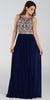 ON SPECIAL LIMITED STOCK - Poly USA 7384 Floor Length Formal Gown Navy Blue Beaded Top