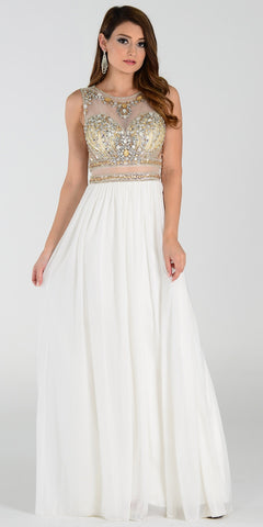 ON SPECIAL LIMITED STOCK - Poly USA 7384 Floor Length Formal Gown Ivory Beaded Top