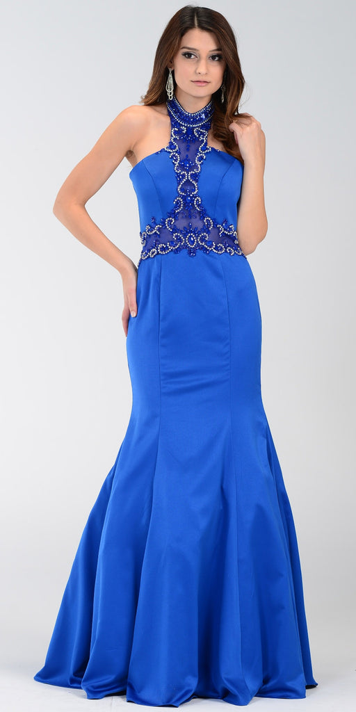 Poly USA 7388 Mermaid Halter Prom Dress Royal Blue Choker Strap