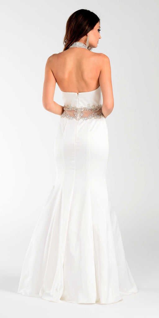 Poly USA 7388 Mermaid Halter Prom Dress Off White Choker Strap