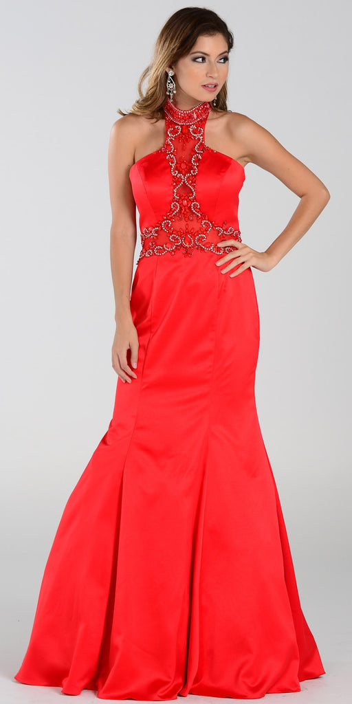 Poly USA 7388 Mermaid Halter Prom Dress Red Choker Strap