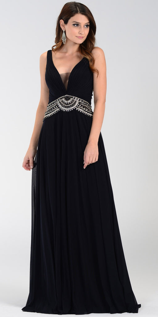 Poly USA 7400 Flowy Chiffon Prom Gown Black V Neckline Empire