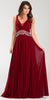 Poly USA 7400 Flowy Chiffon Prom Gown Burgundy V Neckline Empire