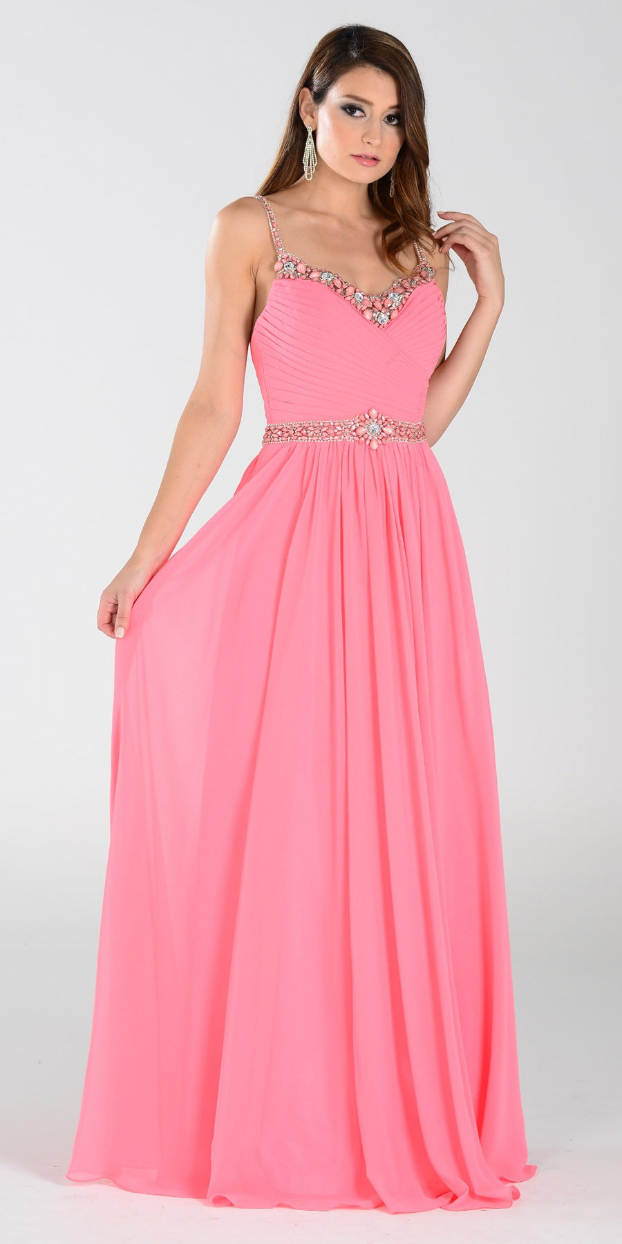 Poly USA 7408 Long Flowy Chiffon A Line Prom Dress Coral ...