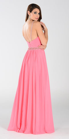 Poly USA 7408 Long Flowy Chiffon A Line Prom Dress Coral