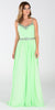 ON SPECIAL LIMITED STOCK - Poly USA 7408 Long Flowy Chiffon A Line Prom Dress Mint