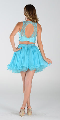 Poly USA 7416 Short 2 Piece Prom Dress Aqua Chiffon Skirt
