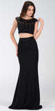 Poly USA 7422 Floor Length 2 Piece Black Prom Dress Cap Sleeve