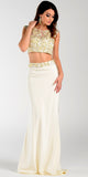 Poly USA 7422 Floor Length 2 Piece Ivory Prom Dress Cap Sleeve