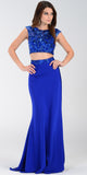 Poly USA 7422 Floor Length 2 Piece Royal Blue Prom Dress Cap Sleeve