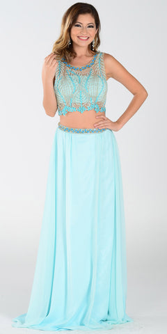 ON SPECIAL LIMITED STOCK - Poly USA 7442 Chiffon 2 Piece Prom Gown Aqua Beaded Top