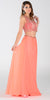 ON SPECIAL LIMITED STOCK - Poly USA 7442 Chiffon 2 Piece Prom Gown Coral Beaded Top