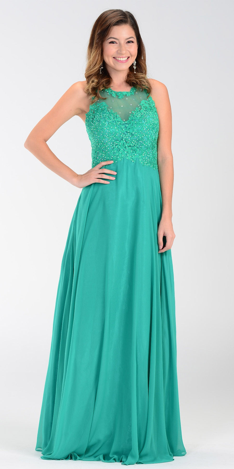 Poly USA 7454 Long Flowy Prom Gown Coral Empire Sheer Bodice ...