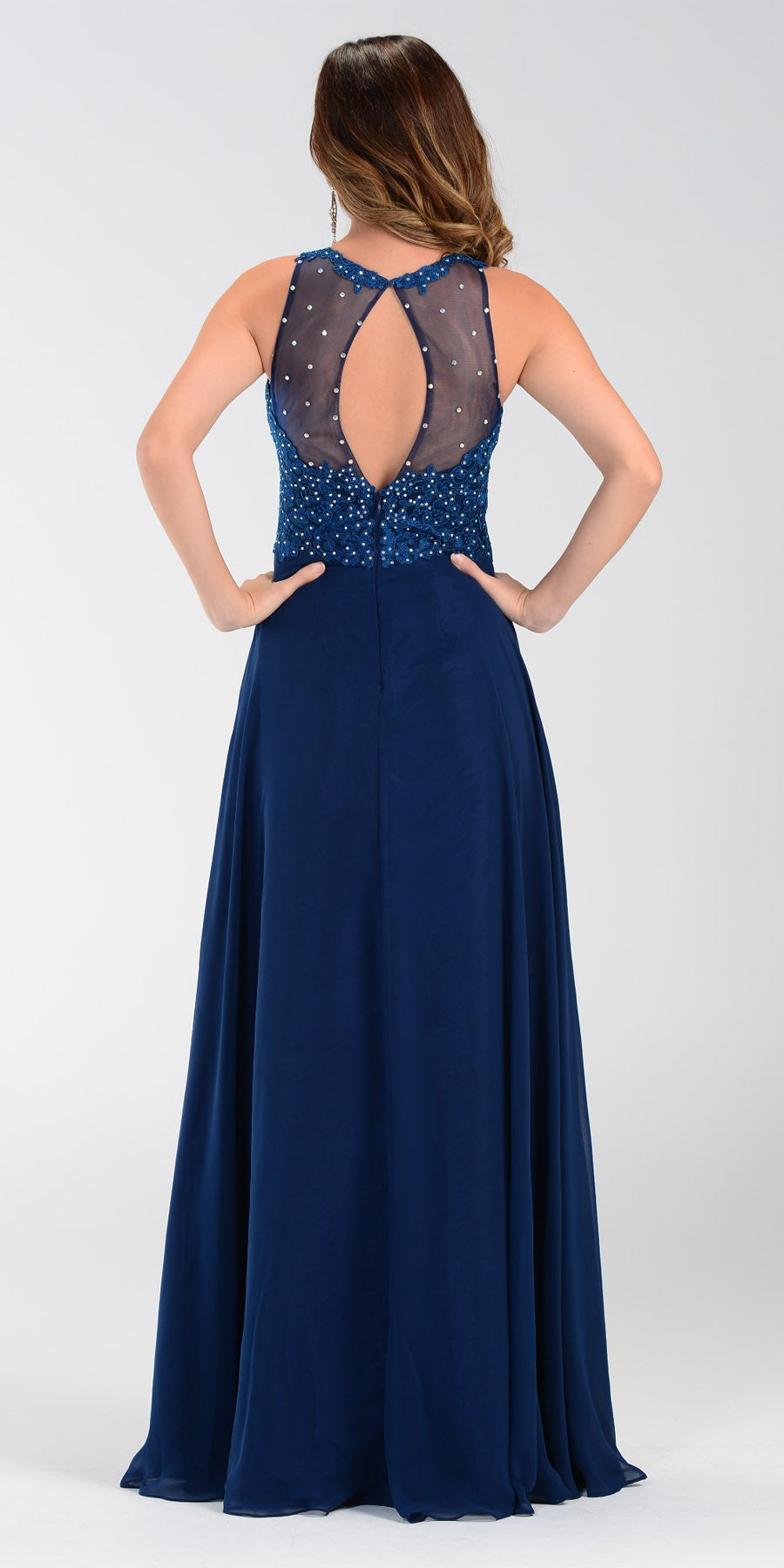 Poly USA 7454 Long Flowy Prom Gown Navy Blue Empire Sheer Bodice