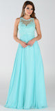 Poly USA 7454 Long Flowy Prom Gown Aqua Empire Sheer Bodice