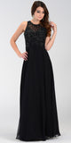 Poly USA 7454 Long Flowy Prom Gown Black Empire Sheer Bodice