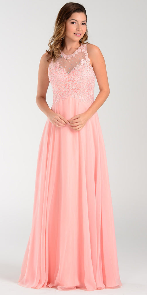Poly USA 7454 Long Flowy Prom Gown Blush Empire Sheer Bodice