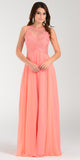 Poly USA 7454 Long Flowy Prom Gown Coral Empire Sheer Bodice
