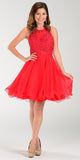 Poly USA 7456 Short A Line Chiffon Prom Dress Red Sheer Neck
