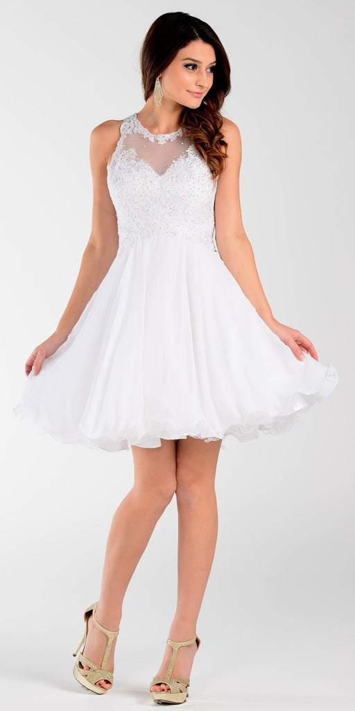 Poly USA 7456 Short A Line Chiffon Prom Dress White Sheer Neck