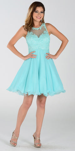 Poly USA 7456 Short A Line Chiffon Prom Dress Aqua Sheer Neck