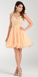 Poly USA 7456 Short A Line Chiffon Prom Dress Champagne Sheer Neck