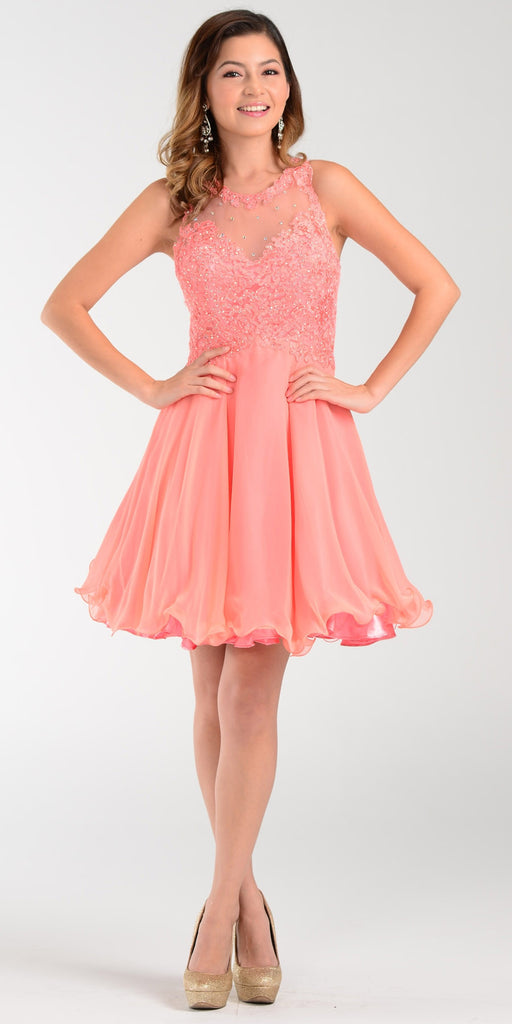 Poly USA 7456 Short A Line Chiffon Prom Dress Coral Sheer Neck