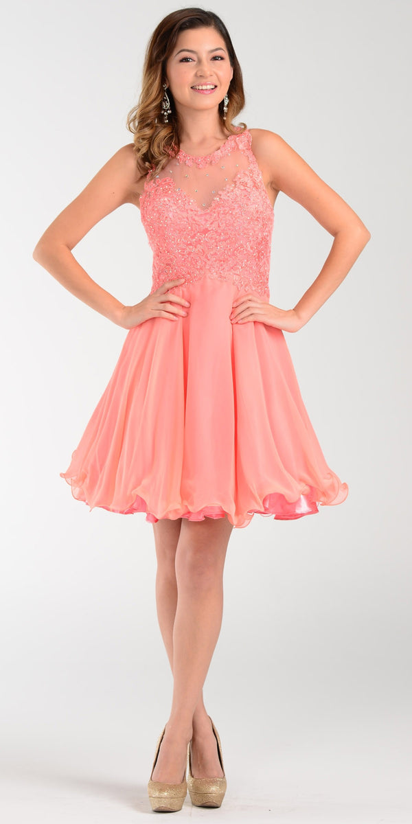 Poly USA 7456 Short A Line Chiffon Prom Dress Coral Sheer Neck 731a483d6