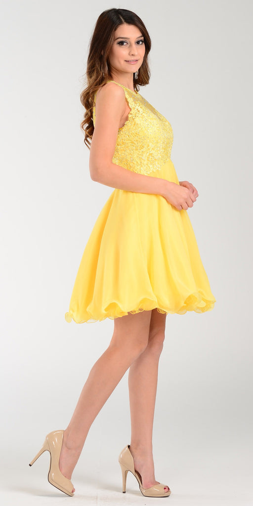 Poly USA 7456 Short A Line Chiffon Prom Dress Yellow Sheer Neck