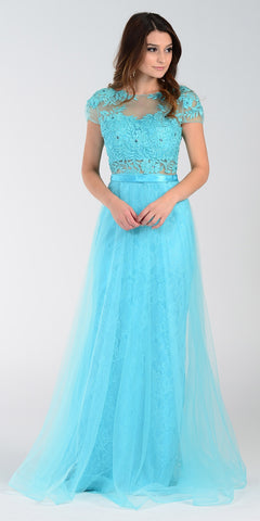 ON SPECIAL LIMITED STOCK - Poly USA 7458 Floor Length Lace Prom Gown Aqua Mesh Overlay