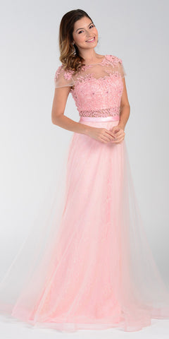 ON SPECIAL LIMITED STOCK - Poly USA 7458 Floor Length Lace Prom Gown Blush Mesh Overlay