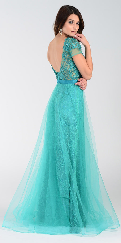 ON SPECIAL LIMITED STOCK - Poly USA 7458 Floor Length Lace Prom Gown Green Mesh Overlay