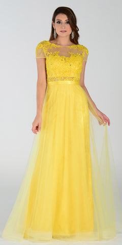 ON SPECIAL LIMITED STOCK - Poly USA 7458 Floor Length Lace Prom Gown Yellow Mesh Overlay