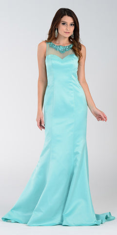 Poly USA 7460 Long Mermaid Satin Prom Dress Aqua Sheer Neck