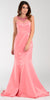 Poly USA 7460 Long Mermaid Satin Prom Dress Coral Sheer Neck