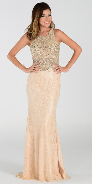 Poly USA 7468 Glamorous Champagne Prom Dress Floor Length